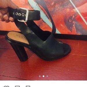 Leather black, peep show  heels
